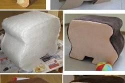 Необычный пуфик из картона