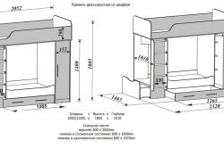 Схема размеров двухъярусной кровати