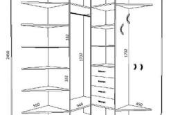 Схема углового треугольного шкафа-купе