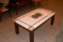 Отделка поверхности стола под мрамор