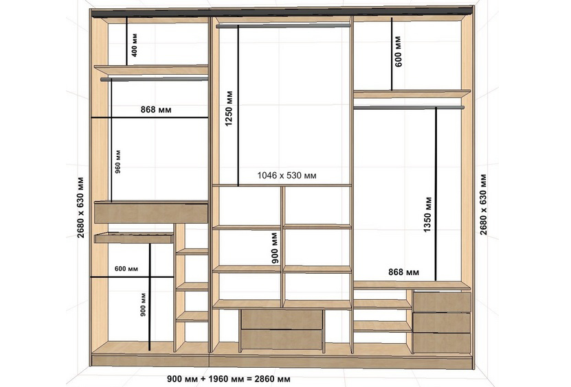 Схема размеров стенного шкафа