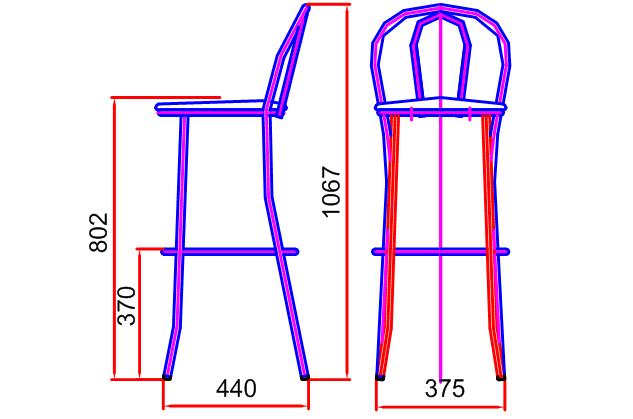 Схема размеров венского стула