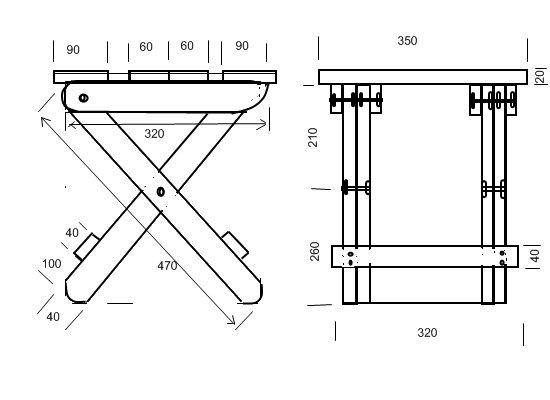 Размеры стула-трансформера