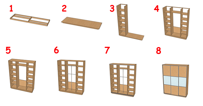 Пошаговая схема сборки шкафа-купе