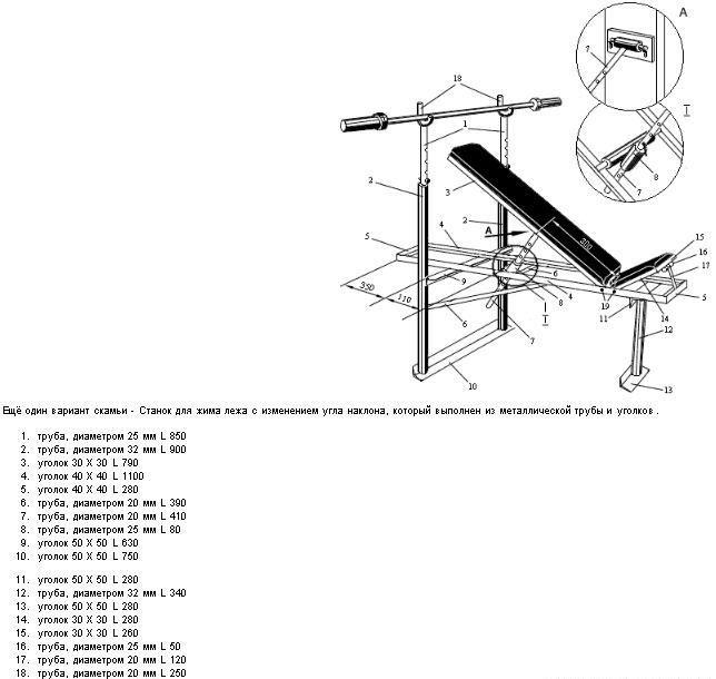Схема лежака для штанги