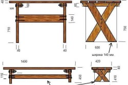 Вариант чертежа деревянного стола