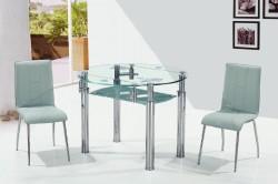 Стеклянный столик с металлическими хромированными ножками