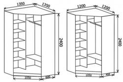 Схема угловой шкаф-купе нестандартных размеров
