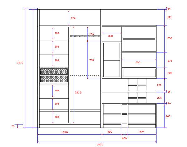 Чертеж шкафа для изготовления его из гипсокартона с размерами