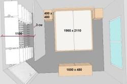 План спальни и мебели с размерами