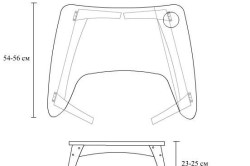 Рисунок 2. Стол для ноутбука с двумя складывающимися ножками, вырезом для кружки и парой удобных подлокотников.