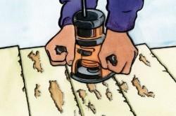 Снятие с мебели старого лака или краски при помощи шлифовальной машинки