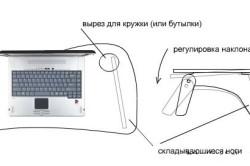Схема раскладного стола для ноутбука