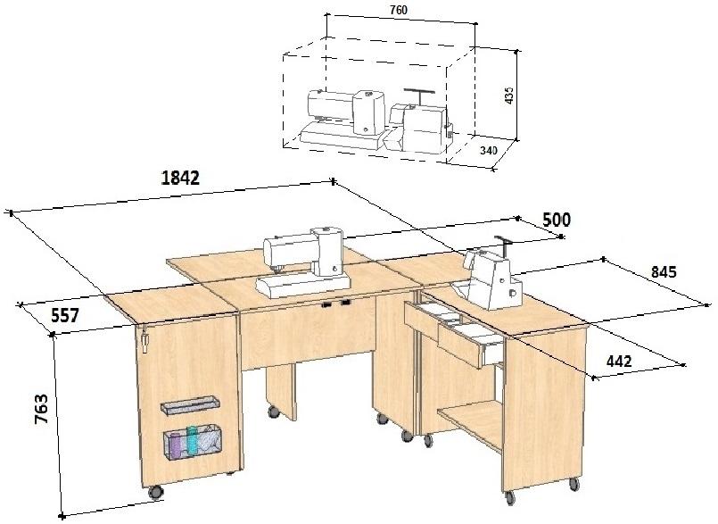 Схема стола для швейной машины с размерами