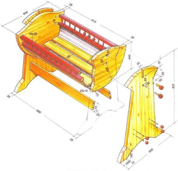 Схема размеров колыбели