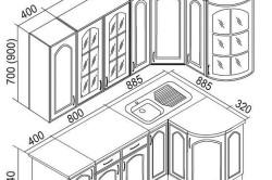 Схема углового кухонного гарнитура