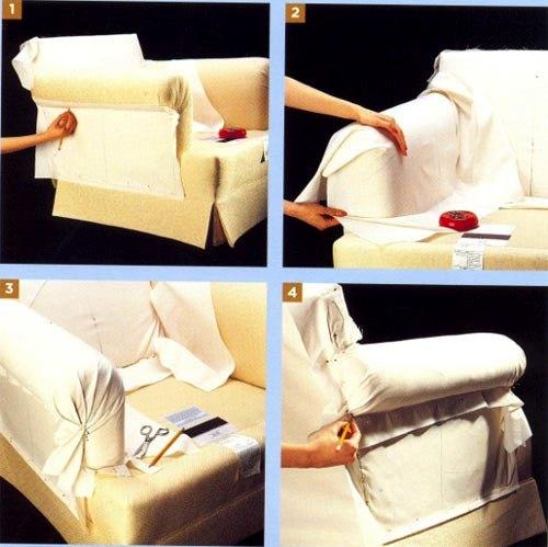Выкройка чехла для кресла с подлокотниками