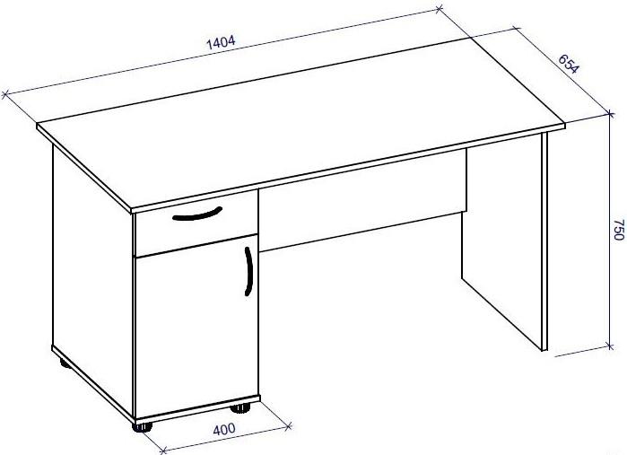 Чертеж письменного стола с размерами OFFICE /CRAFT ROOM 67