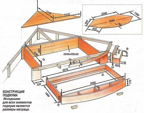 Схема выдвижной угловой кровати-подиума