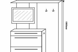 Чертеж стенки с вешалками для прихожей