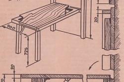 Схема сборки откидного стола на стационарной раме