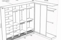 Чертеж шкафа-купе с необходимыми размерами