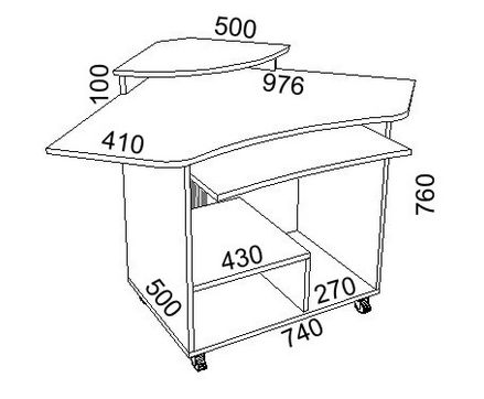 Чертеж простейшего углового стола