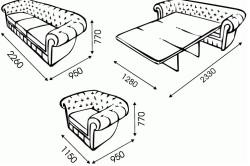 Схема размеров дивана