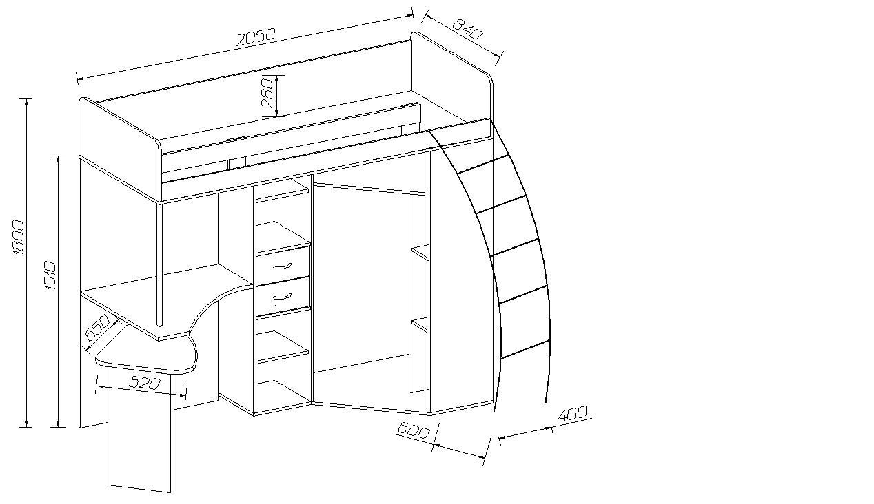 Кровать чердак с выдвижным столом схема сборки7