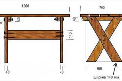 Стол для бани из дерева