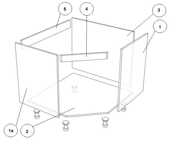 Схема угловой тумбы: 1