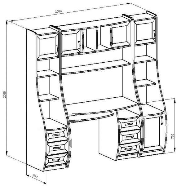 Схема шкафа из дуба.