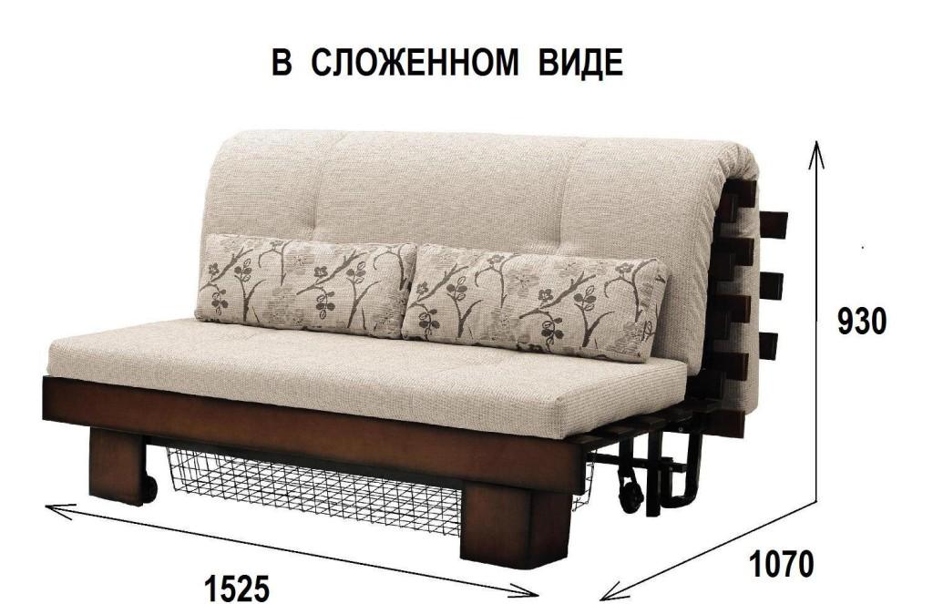 Размеры японской кровати в сложенном виде