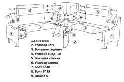 Схема сборки углового кухонного дивана.