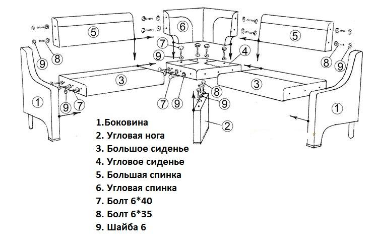 Схема сборки углового
