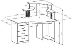 Монтажные размеры компьютерного стола