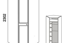 Размеры углового шкафа с полками.