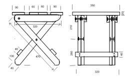Размеры стула-трансформера.