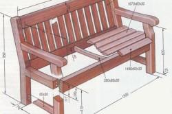 Схема деревянной скамейки с размерами