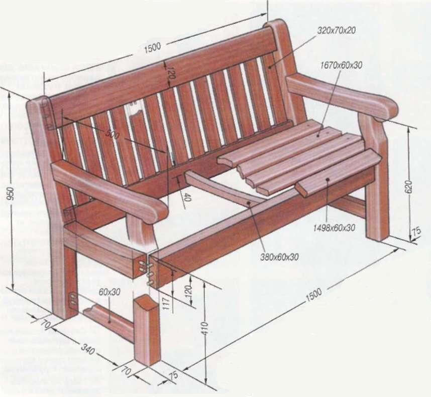 Схема деревянной скамейки с
