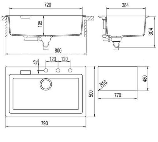 Схема кухонной мойки с