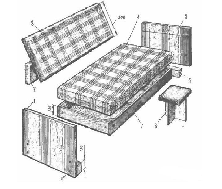 Элементы раскладного дивана-