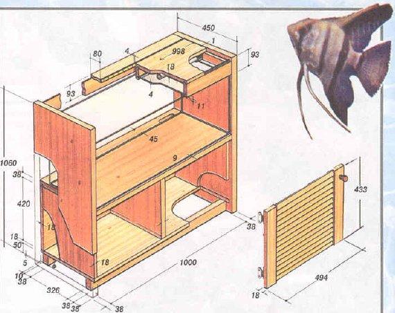 Схема тумбы для аквариума с