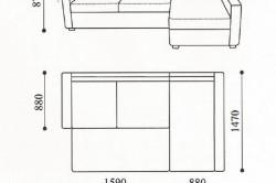 Чертеж углового дивана