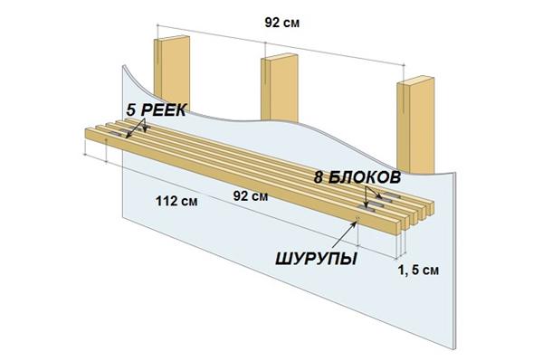 Схема навесной полки для