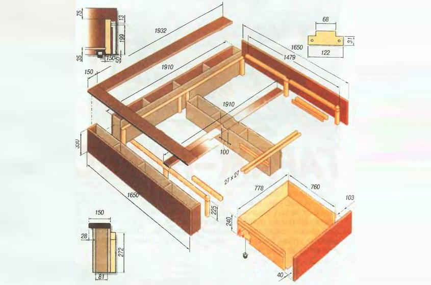 Схема размеров каркаса кровати