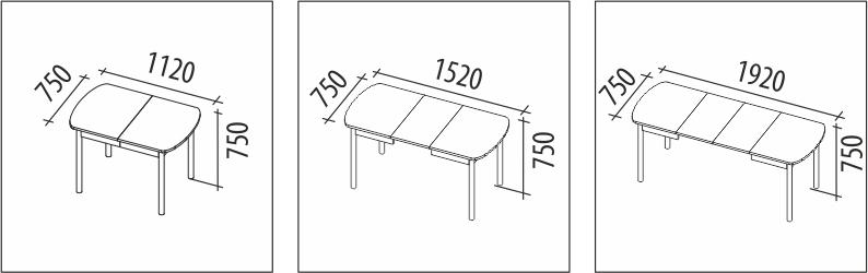 Схема размеров стола