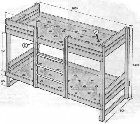 Схема размеров двухъярусной