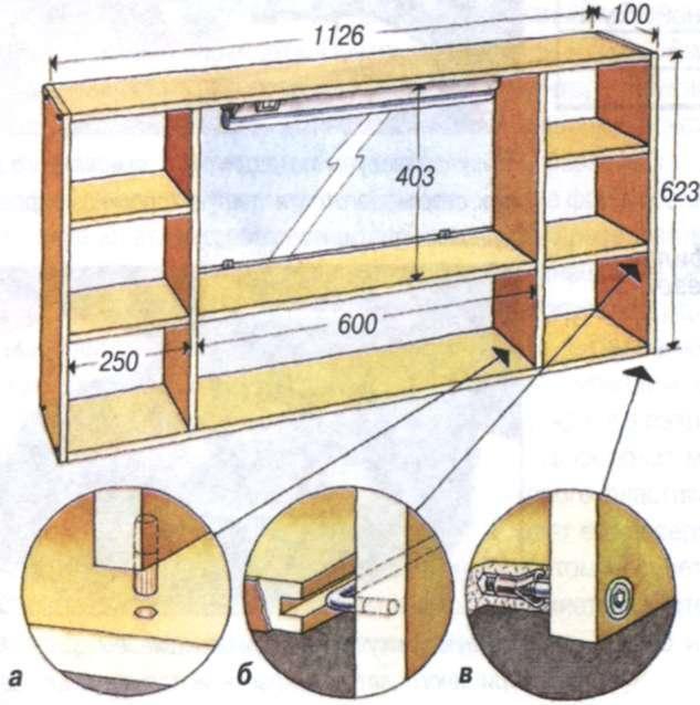 Схема сборки полки для ванной