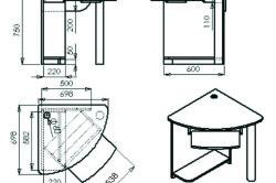 Угловой чертеж компьютерного стола